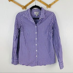 J Crew Perfect Fit Purple Gingham Button Down
